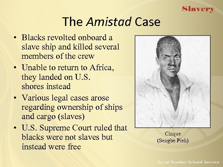 The Amistad Case • Blacks revolted onboard a slave ship and killed several members