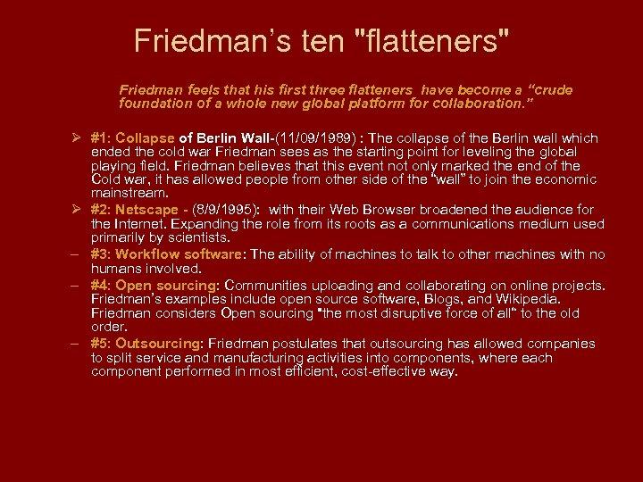 Friedman's ten