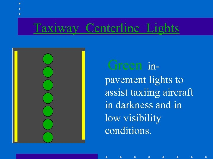 Taxiway Centerline Lights Green inpavement lights to assist taxiing aircraft in darkness and in
