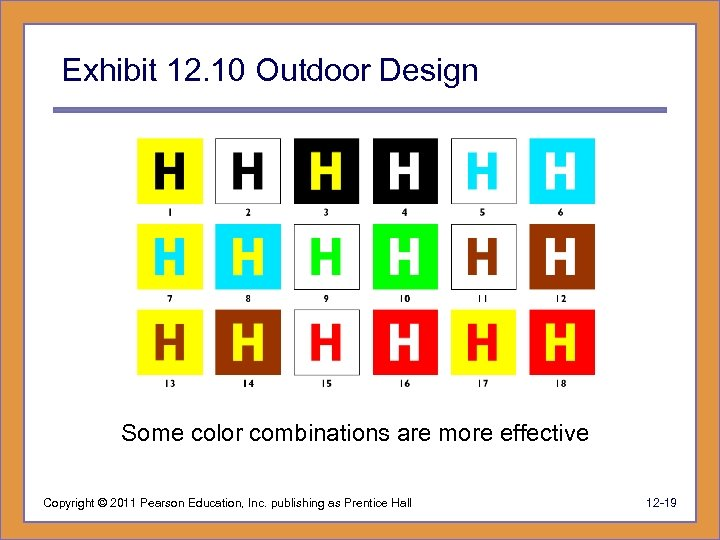 Exhibit 12. 10 Outdoor Design Some color combinations are more effective Copyright © 2011