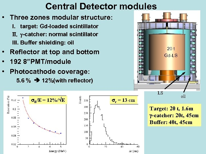 Central Detector modules • Three zones modular structure: I. target: Gd-loaded scintillator II. g-catcher: