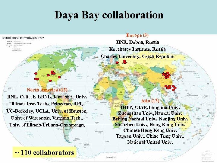 Daya Bay collaboration Europe (3) JINR, Dubna, Russia Kurchatov Institute, Russia Charles University, Czech