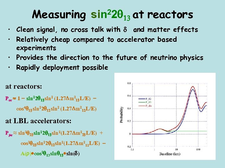 Measuring sin 22 13 at reactors • Clean signal, no cross talk with d