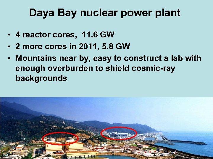 Daya Bay nuclear power plant • 4 reactor cores, 11. 6 GW • 2