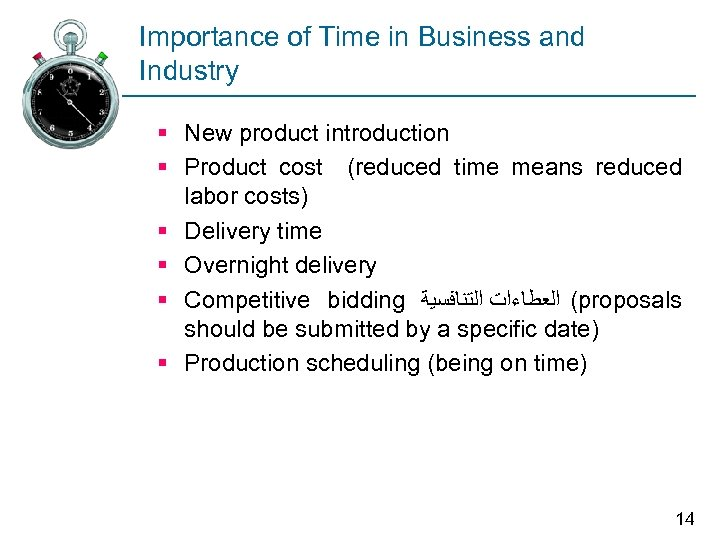 Importance of Time in Business and Industry § New product introduction § Product cost