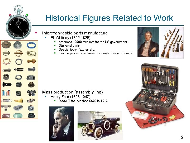 Historical Figures Related to Work § Interchangeable parts manufacture § Eli Whitney (1765 -1825)