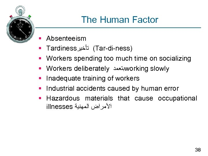 The Human Factor § § § § Absenteeism Tardiness ( ﺗﺄﺨﻴﺮ Tar-di-ness) Workers spending