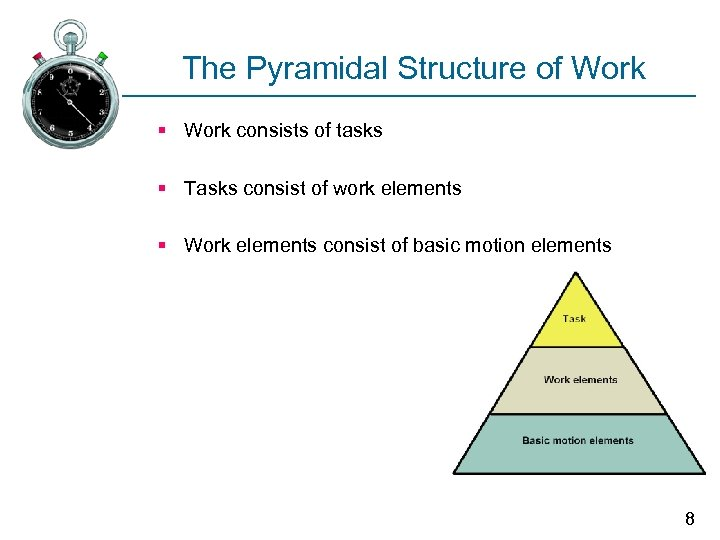 The Pyramidal Structure of Work § Work consists of tasks § Tasks consist of