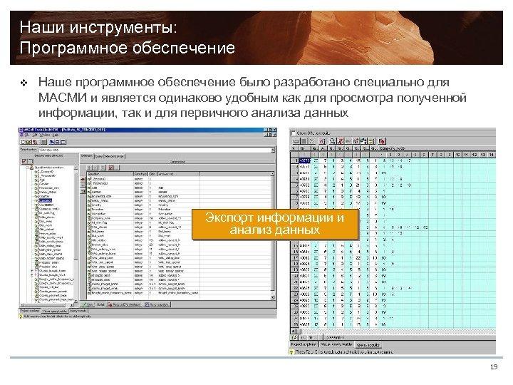Наши инструменты: Программное обеспечение v Наше программное обеспечение было разработано специально для МАСМИ и