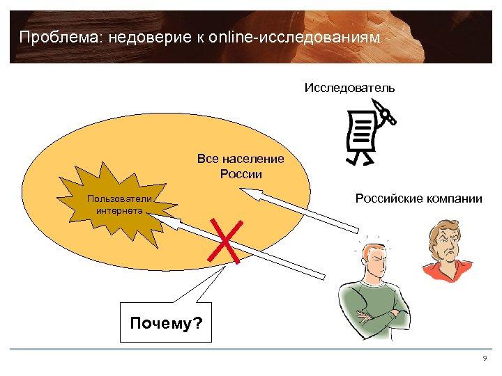 Проблема: недоверие к online-исследованиям Исследователь Все население России Пользователи интернета Российские компании Почему? 9