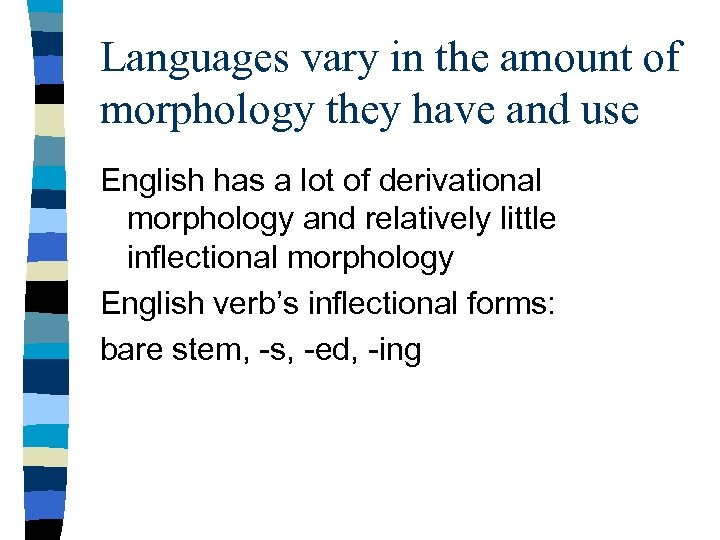 Languages vary in the amount of morphology they have and use English has a