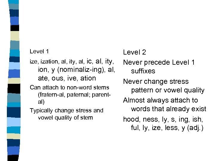 Level 1 ize, ization, al, ity, al, ic, al, ity, ion, y (nominaliz-ing), al,
