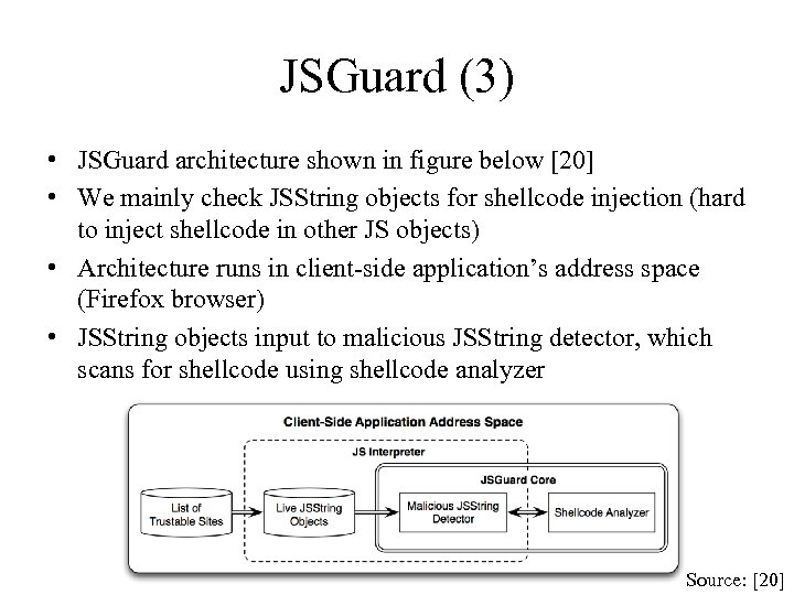 JSGuard (3) • JSGuard architecture shown in figure below [20] • We mainly check