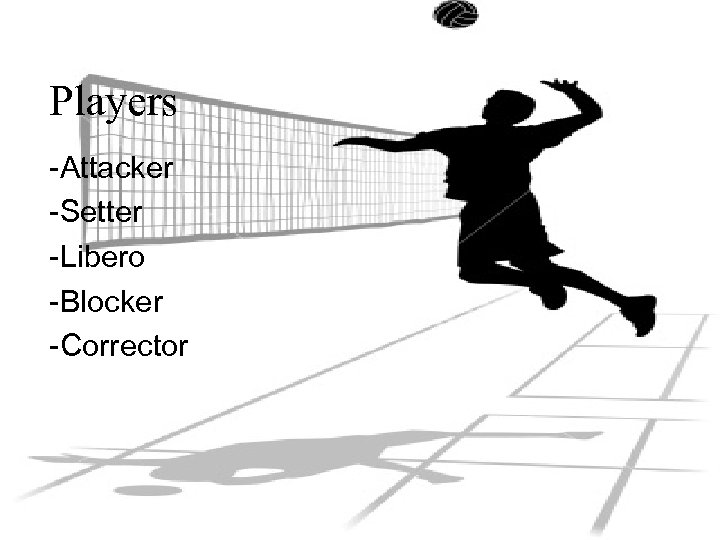 Players -Attacker -Setter -Libero -Blocker -Corrector