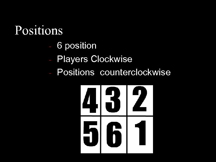 Positions - 6 position Players Clockwise Positions counterclockwise