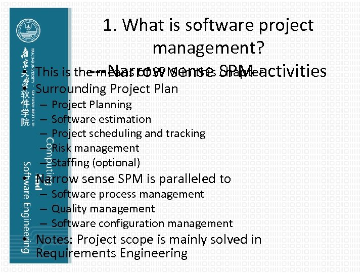 1. What is software project management? This is the means of SPM in this