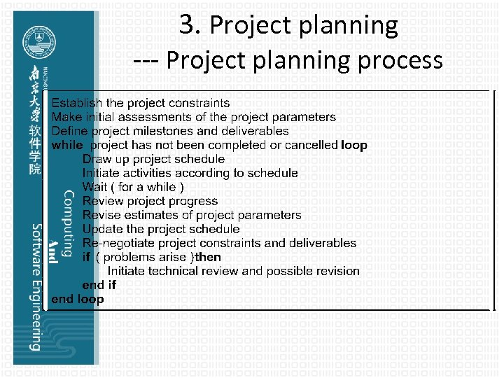 3. Project planning --- Project planning process