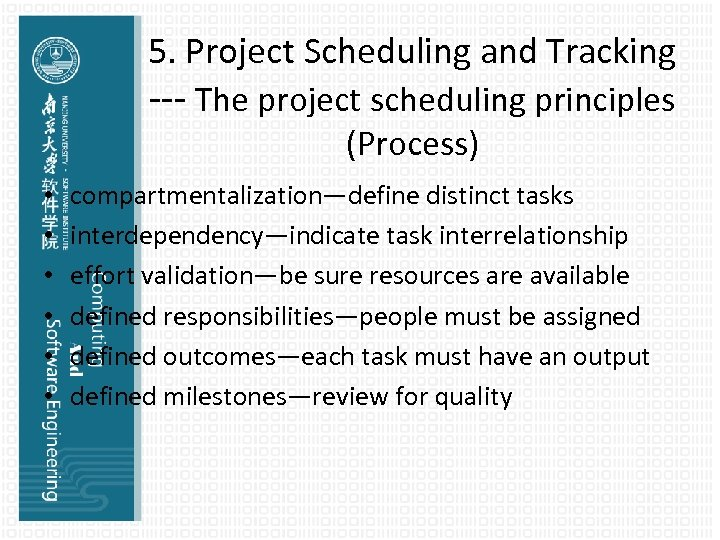 5. Project Scheduling and Tracking --- The project scheduling principles (Process) • • •