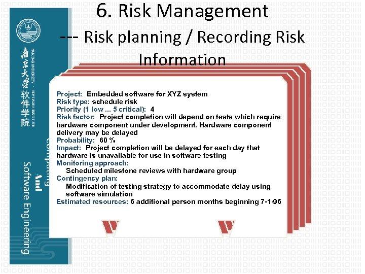 6. Risk Management --- Risk planning / Recording Risk Information Project: Embedded software for
