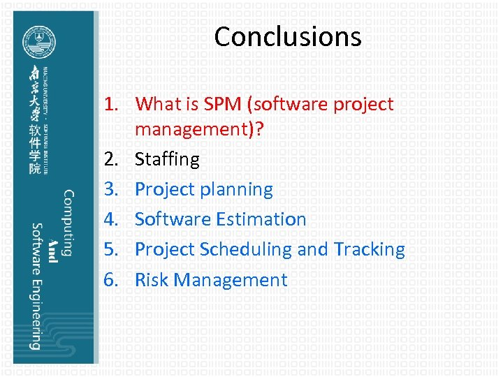 Conclusions 1. What is SPM (software project management)? 2. Staffing 3. Project planning 4.