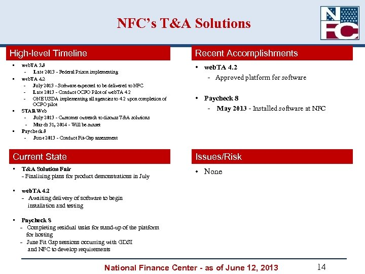 NFC's T&A Solutions High-level Timeline • • Recent Accomplishments web. TA 3. 8 Late