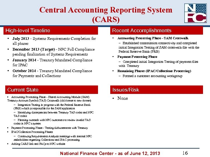 Central Accounting Reporting System (CARS) High-level Timeline Recent Accomplishments • July 2013 - Systems
