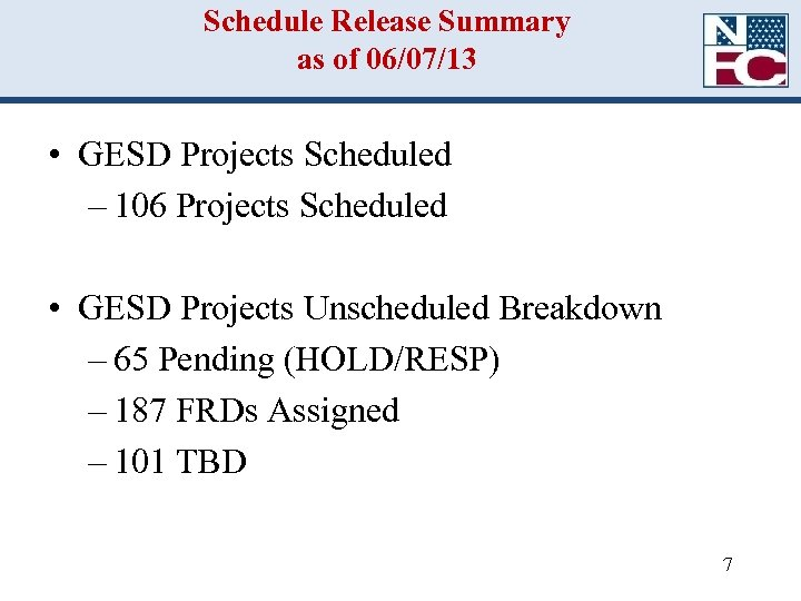 Schedule Release Summary as of 06/07/13 • GESD Projects Scheduled – 106 Projects Scheduled