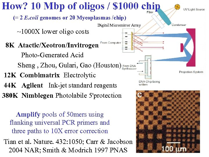 How? 10 Mbp of oligos / $1000 chip (= 2 E. coli genomes or