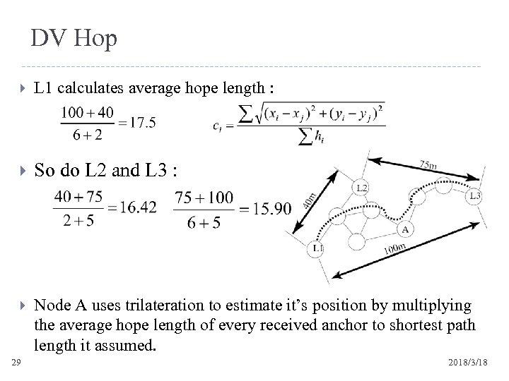 DV Hop L 1 calculates average hope length : So do L 2 and
