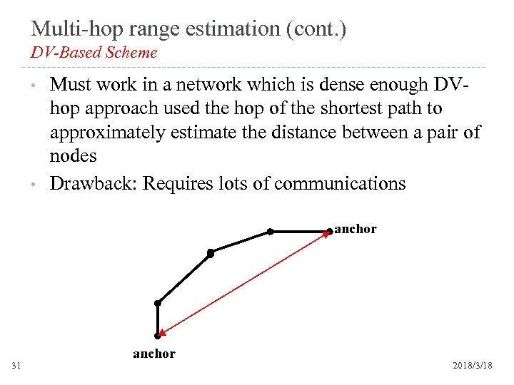 Multi-hop range estimation (cont. ) DV-Based Scheme • • Must work in a network