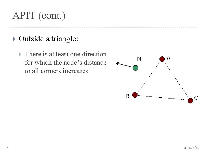 APIT (cont. ) Outside a triangle: There is at least one direction for which
