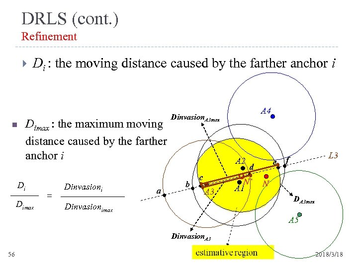 DRLS (cont. ) Refinement n Di : the moving distance caused by the farther
