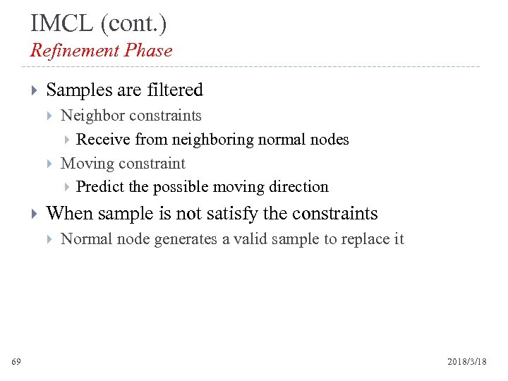 IMCL (cont. ) Refinement Phase Samples are filtered When sample is not satisfy the