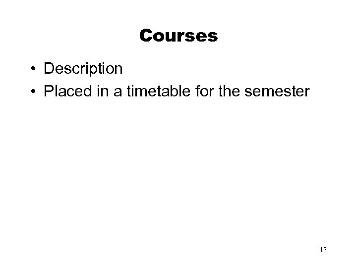 Courses • Description • Placed in a timetable for the semester 17