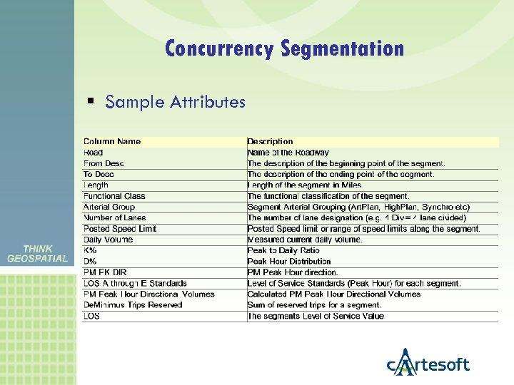 Concurrency Segmentation Sample Attributes
