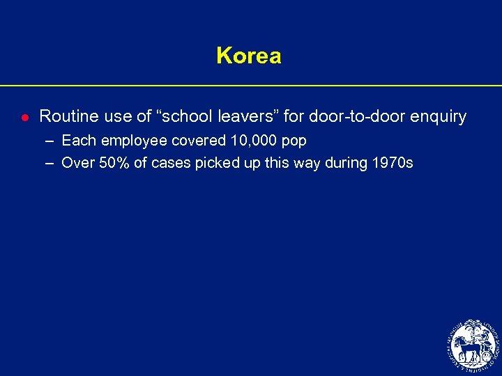 "Korea l Routine use of ""school leavers"" for door-to-door enquiry – Each employee covered"