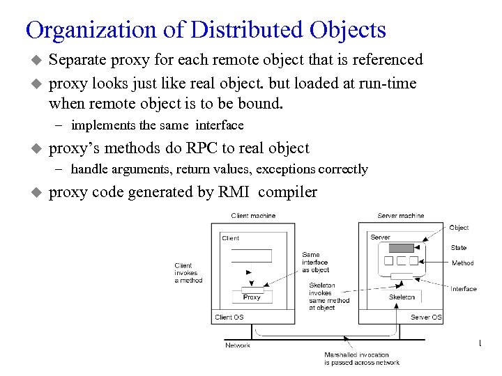 Organization of Distributed Objects u u Separate proxy for each remote object that is