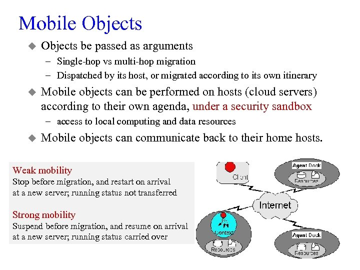 Mobile Objects u Objects be passed as arguments – Single-hop vs multi-hop migration –