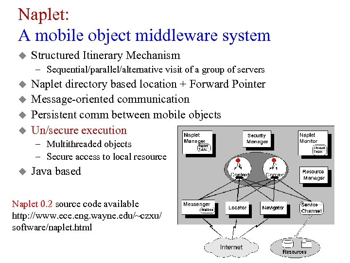 Naplet: A mobile object middleware system u Structured Itinerary Mechanism – Sequential/parallel/alternative visit of