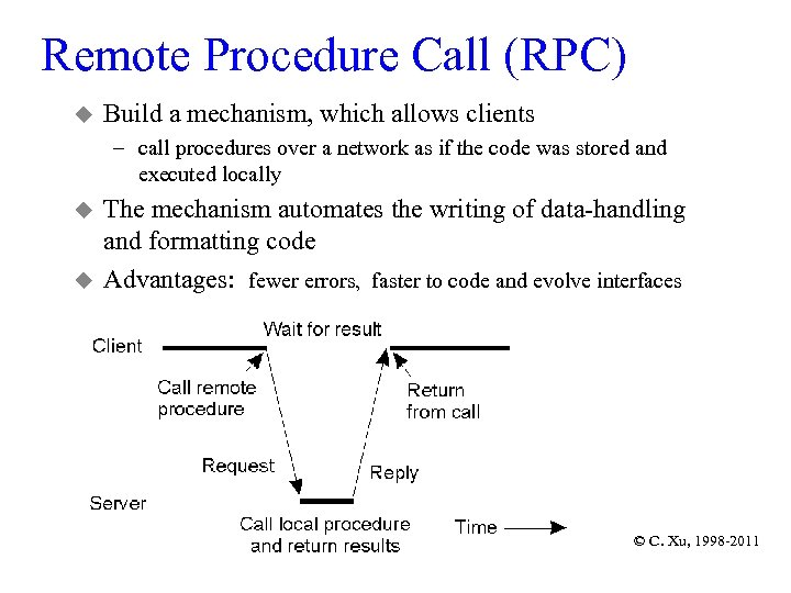 Remote Procedure Call (RPC) u Build a mechanism, which allows clients – call procedures