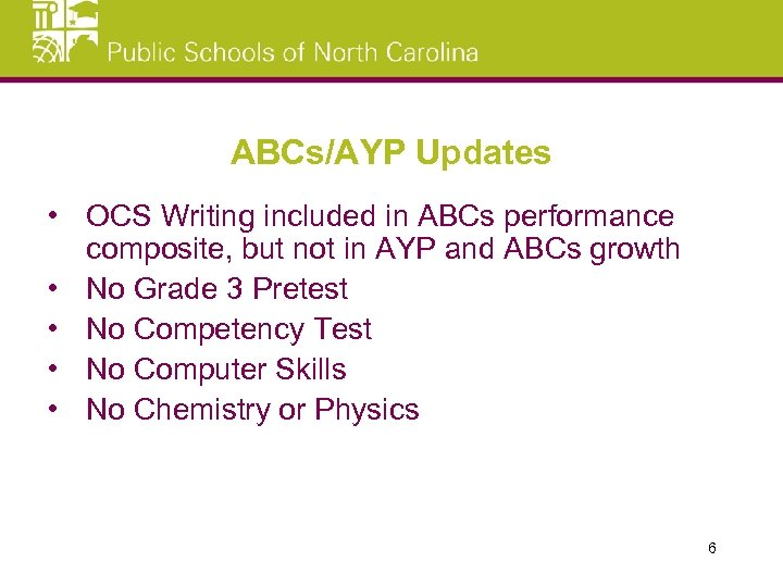 ABCs/AYP Updates • OCS Writing included in ABCs performance composite, but not in AYP