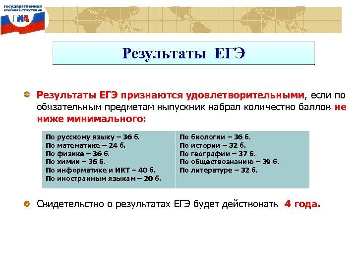 Результаты ЕГЭ признаются удовлетворительными, если по обязательным предметам выпускник набрал количество баллов не ниже