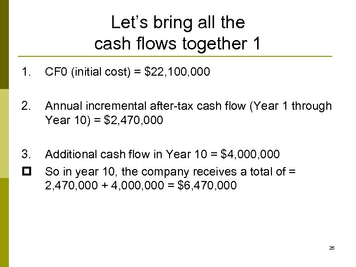 Let's bring all the cash flows together 1 1. CF 0 (initial cost) =