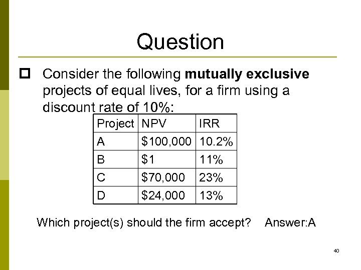Question p Consider the following mutually exclusive projects of equal lives, for a firm