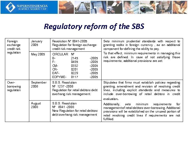 Regulatory reform of the SBS Foreign exchange credit risk regulation Overborrowing regulation January 2005