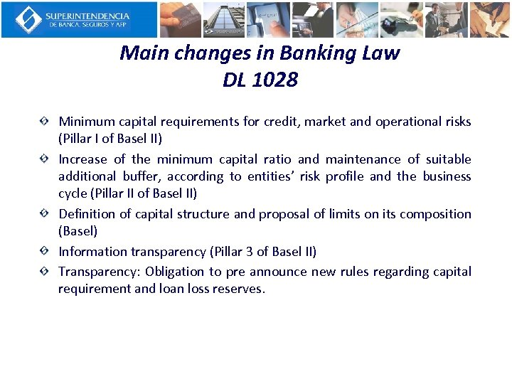 Main changes in Banking Law DL 1028 Minimum capital requirements for credit, market and