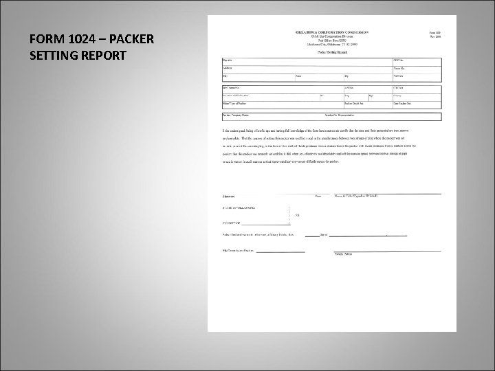 FORM 1024 – PACKER SETTING REPORT