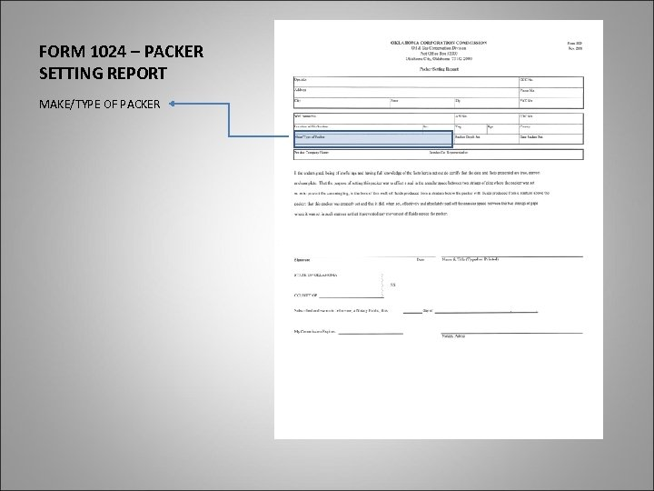 FORM 1024 – PACKER SETTING REPORT MAKE/TYPE OF PACKER