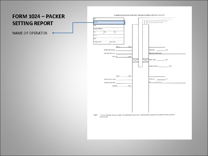 FORM 1024 – PACKER SETTING REPORT NAME OF OPERATOR