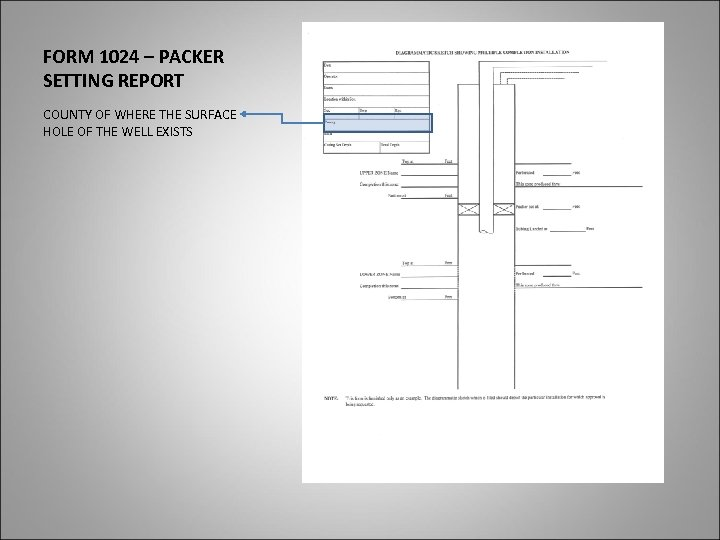 FORM 1024 – PACKER SETTING REPORT COUNTY OF WHERE THE SURFACE HOLE OF THE